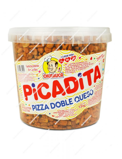 Churruca Picadita Sabor Pizza Doble Queso cubo